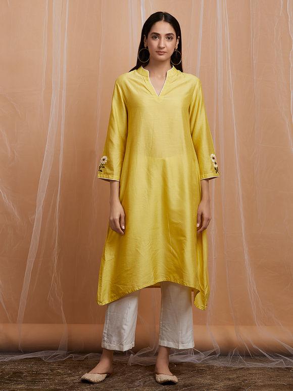 Yellow Embroidered Cotton Asymmetric Kurta with White Pants and Chanderi Dupatta - Set of 3
