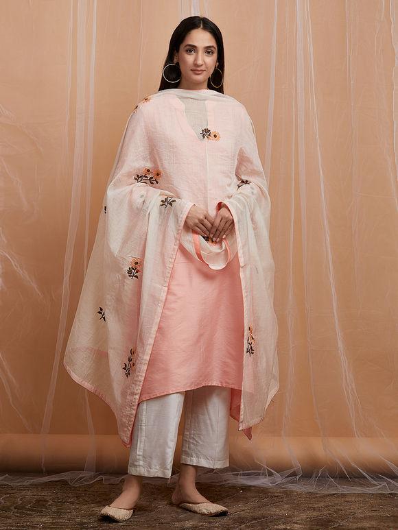 Peach Embroidered Cotton Asymmetric Kurta with White Pants and Chanderi Dupatta - Set of 3