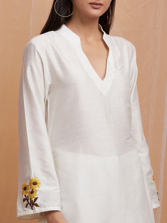 White Embroidered Cotton Asymmetric Kurta