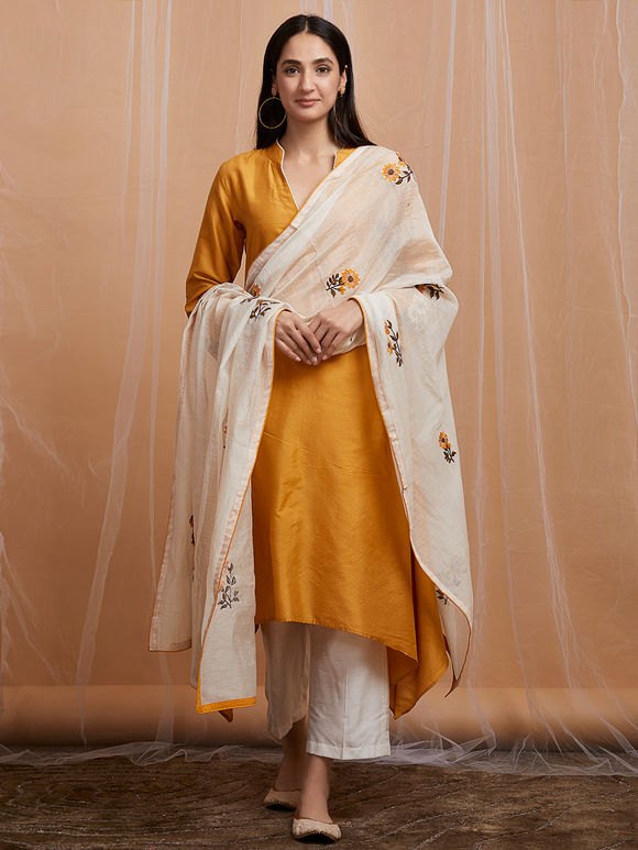 White Mustard Yellow Embroidered Chanderi Dupatta