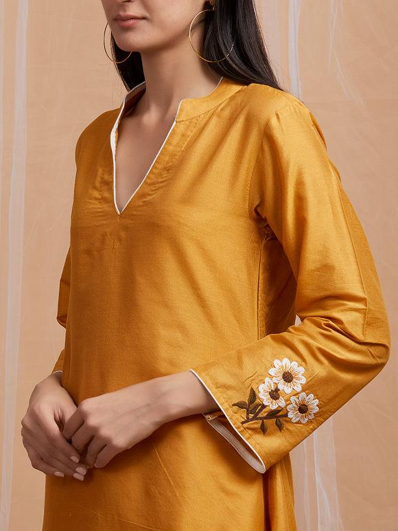 Mustard Yellow Embroidered Cotton Asymmetric Kurta