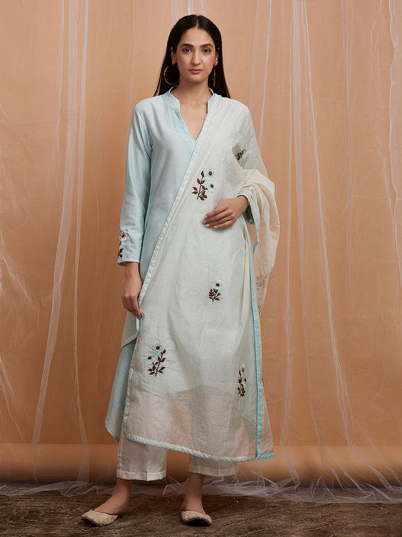 Powder Blue Embroidered Cotton Asymmetric Kurta with White Pants and Chanderi Dupatta - Set of 3