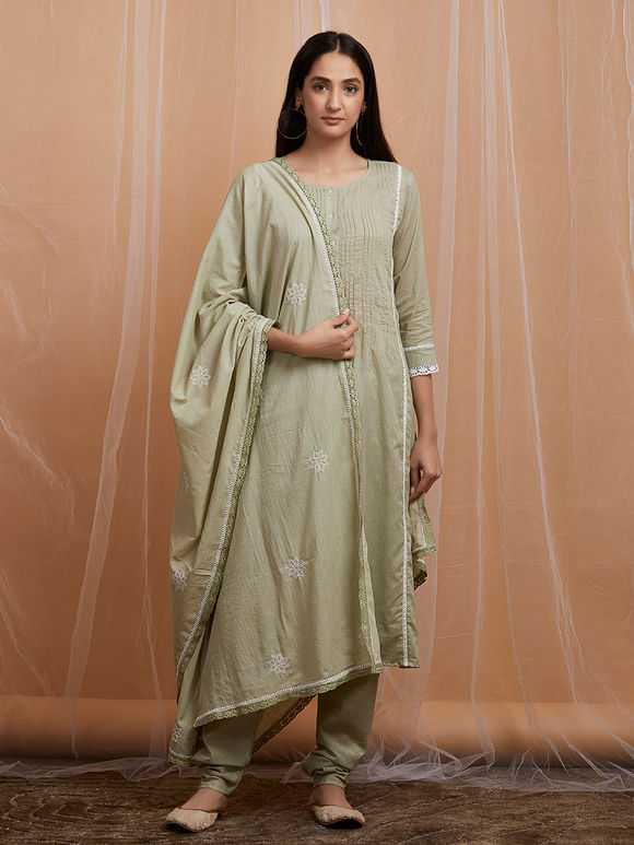 Olive Green Cotton Suit - Set of 3