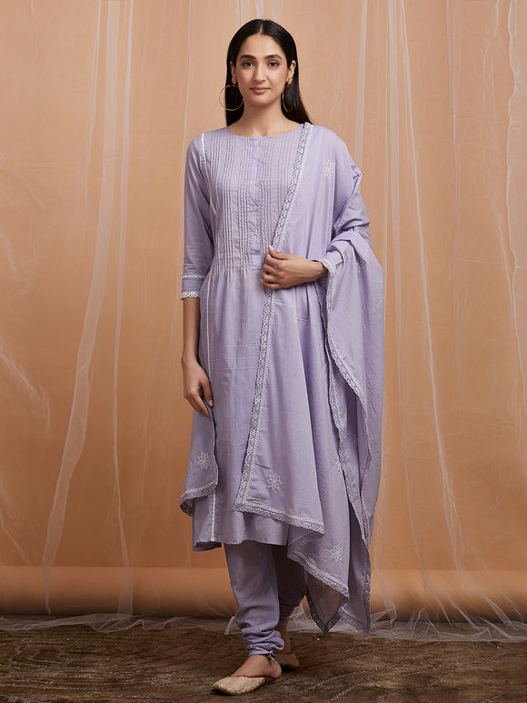 Lavender Cotton Suit - Set of 3