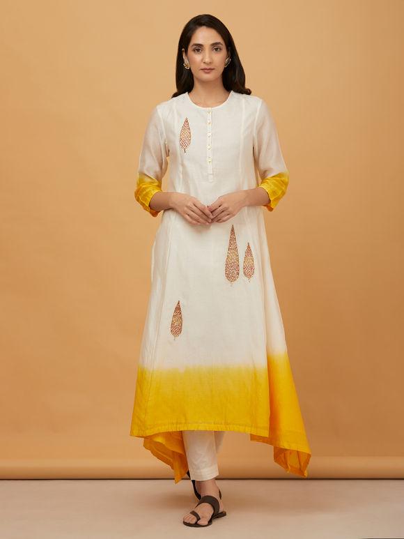 Off White Yellow Embroidered Ombre Chanderi Asymmetric Kurta with Cotton Pants with Kota Doria Dupatta- Set of 3
