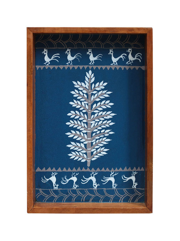 Blue Warli Hand Painted Wooden Tray (Medium)