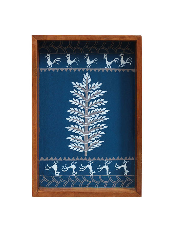Blue Warli Hand Painted Wooden Tray (Small)