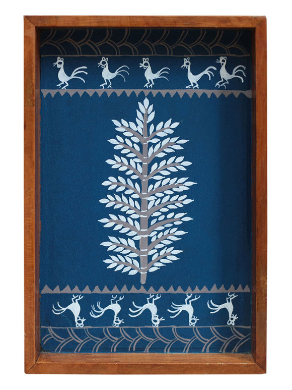 Blue Warli Hand Painted Teak Tray (Large)