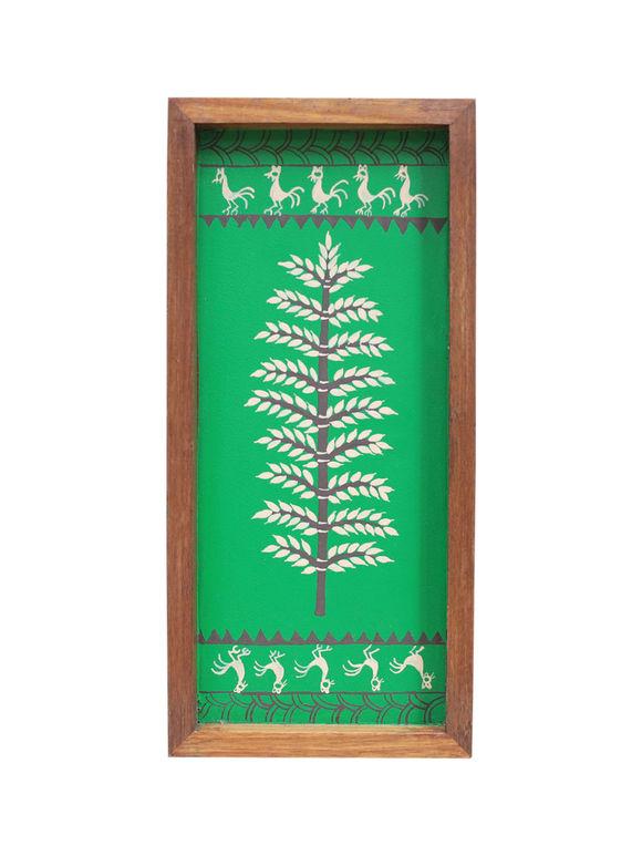 Green Warli Hand Painted Wooden Tray (Medium)