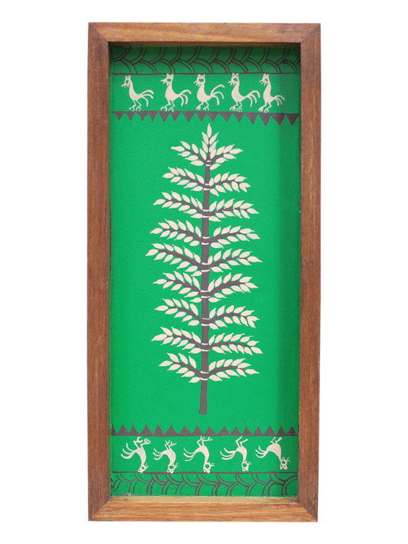 Green Warli Hand Painted Wooden Tray (Large)