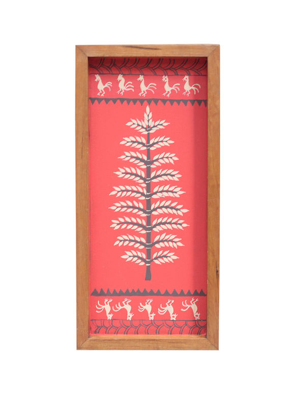 Red Warli Hand Painted Teak Tray (Medium)