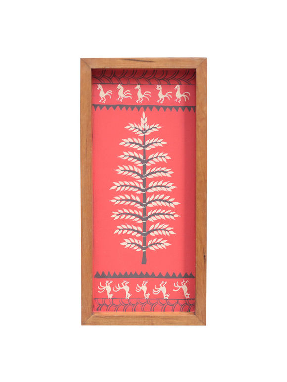 Red Warli Hand Painted Teak Tray (Small)