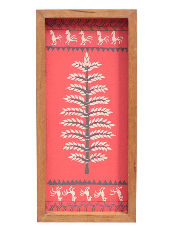 Red Warli Hand Painted Teak Tray (Large)