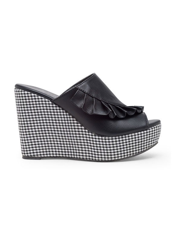 Black White Checkered Faux Leather Wedges