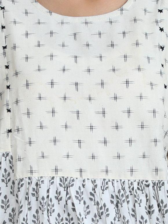 White Grey Cotton Ikat Flared Dress