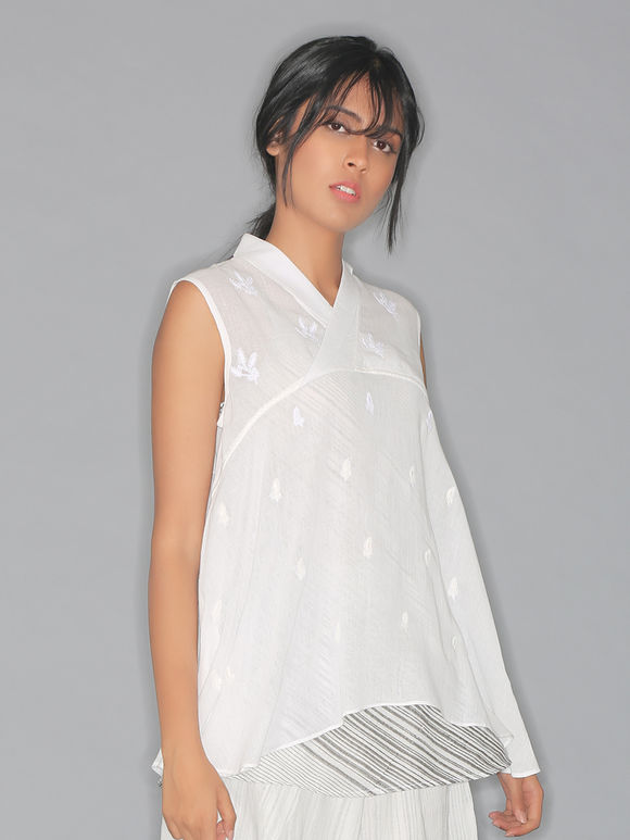 White Embroidered Mulmul Sleeveless Top with Hand Block Printed Slip- Set of 2