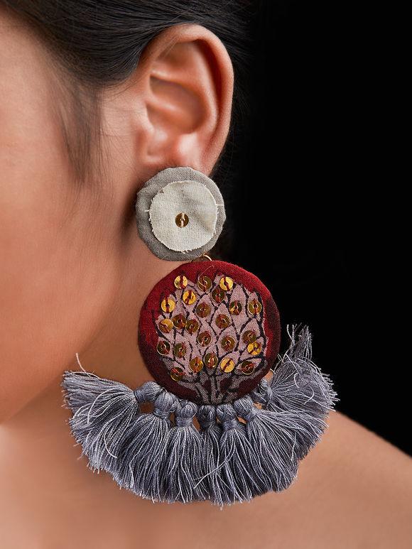 Red Grey Hand Block Printed Cotton Fabric Sitara Earrings