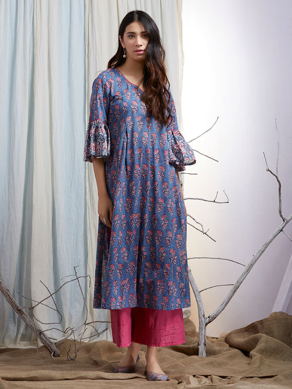 Blue Pink Hand Block Printed Cotton Kurta with Palazzo and Mulmul Embroidered Dupatta - Set of 3