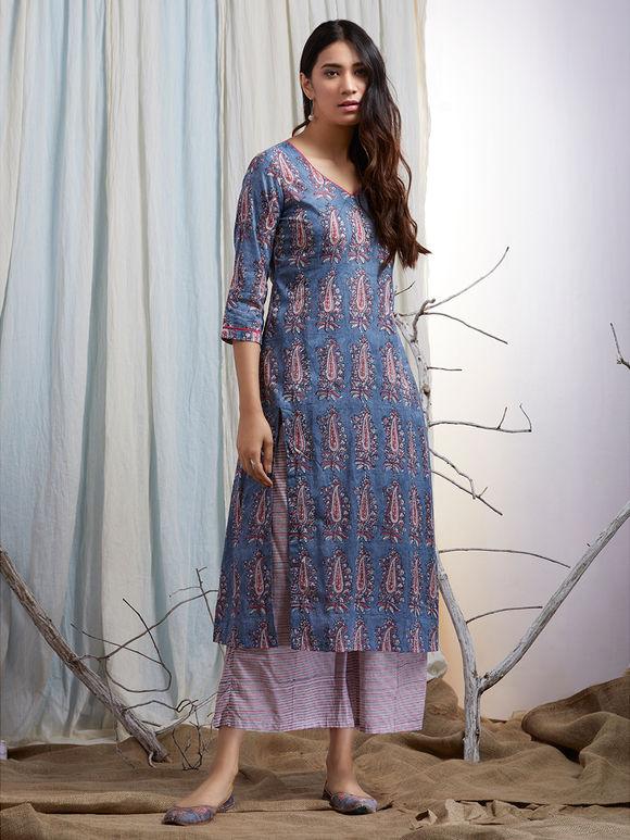 Blue Pink Hand Block Printed Cotton Kurta with Striped Palazzo and Mulmul Embroidered Dupatta - Set of 3