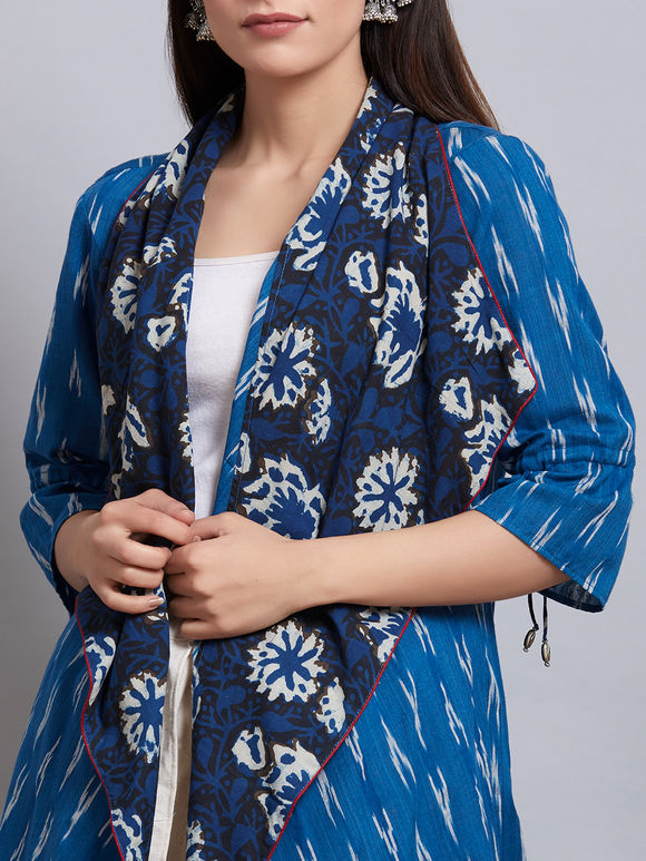 Blue Cotton Ikat Cape with Off White Dhoti Pants - Set of 2