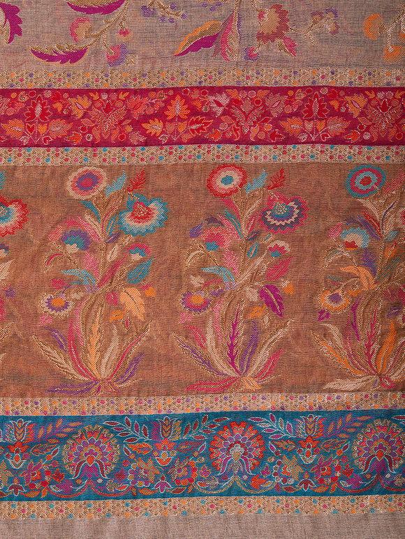 Grey Kani Work Cotton Silk Zari Dupatta