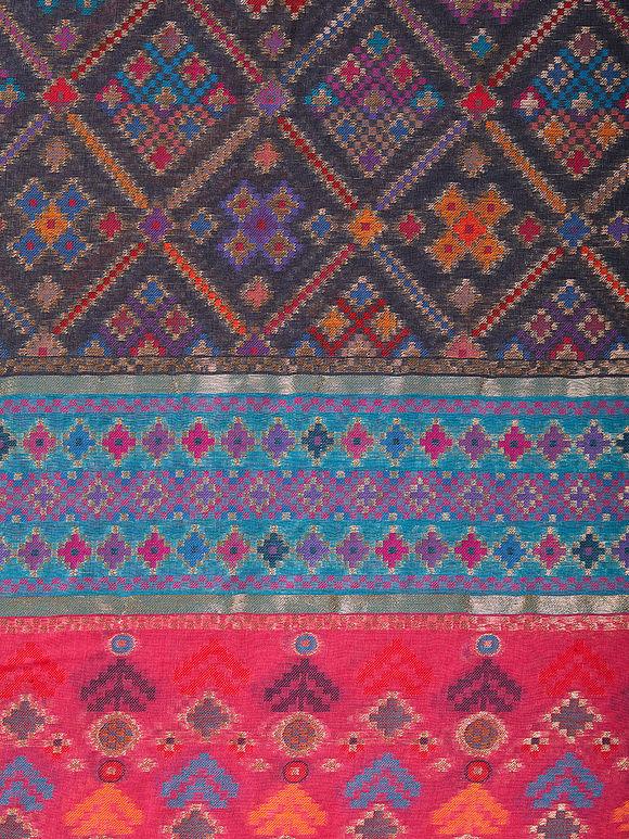 Multicolor Kani Work Cotton Silk Zari Dupatta