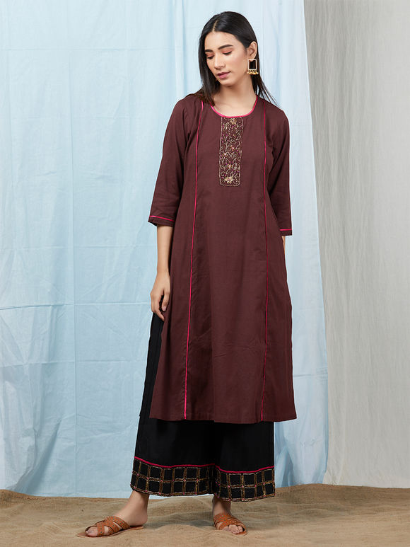 Brown Sequins Embroidered Cotton Linen Kurta with Black Palazzo and Mulmul Dupatta - Set of 3
