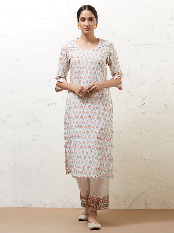 White Hand Block Printed Cotton Kurta with Palazzo and Mulmul Dupatta - Set of 3
